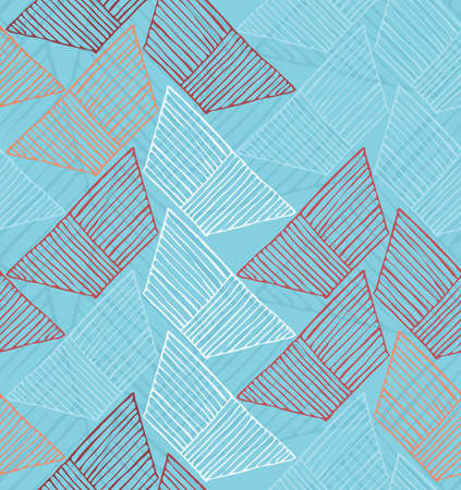 Hatched trapezoids on blue.Hand drawn with ink and marker brush seamless background. Illustration