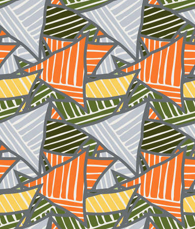 Big triangles orange green striped.Hand drawn with ink seamless background.Creative handmade repainting design for fabric or textile.Geometric pattern with triangles.Vintage retro colors