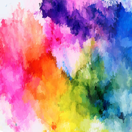 Bright rainbow mosaic with pink.Colorful background hand drawn with bright inks and watercolor paints. Color splashes and splatters create uneven artistic modern design.