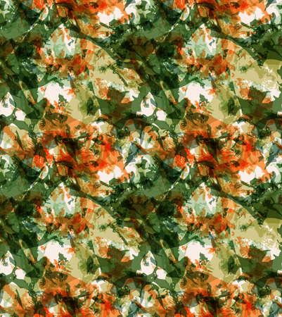 グランジ テクスチャのグリーンとオレンジのオーバーレイ。シームレス パターン。