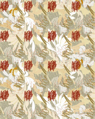 aster: Aster flower white on hand scribbled background.Seamless pattern.