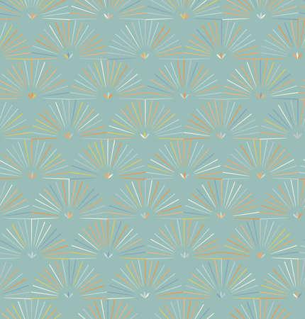 レイは、薄緑色の背景で半円をストライプ化されます。ファッション生地繊維のシームレスなパターン。ヴィンテージのレトロな色の背景を再描画  イラスト・ベクター素材