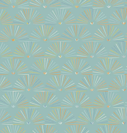 Ray striped half circles on light green background.Seamless pattern for fashion fabric textile. Repainting background in vintage retro colors.