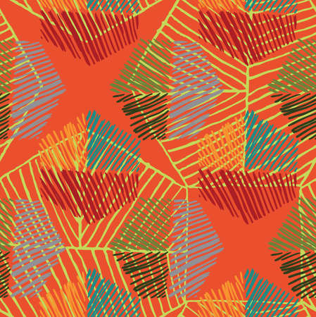 Striped hexagons big on orange.Hand drawn with ink  seamless background.Creative hand made brushed design.Hand sketched geometric reaping design for fashion textile fabric.