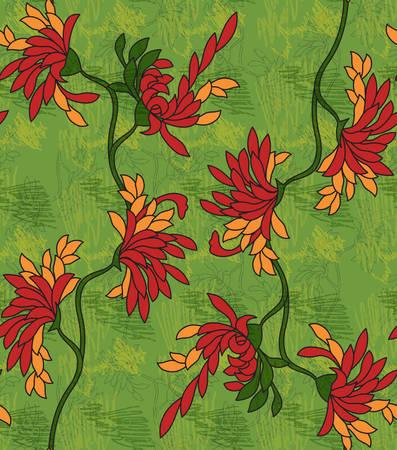 落書きと緑のアスターの花赤。シームレス パターン。