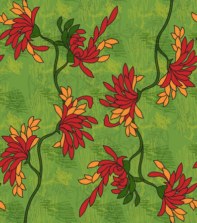 Aster flower red on green with scribble.Seamless pattern.