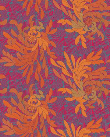 Aster flower orange and green with grids.Seamless pattern. Ilustração