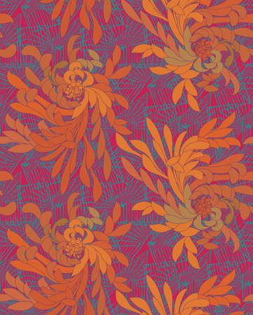 Aster flower orange and green with grids.Seamless pattern. Illustration