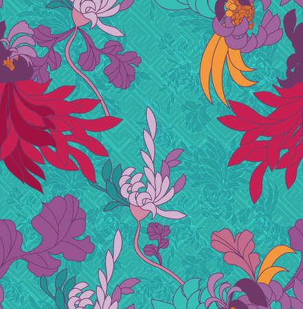 Aster flower pink on green geometric pattern.Seamless pattern. Ilustração