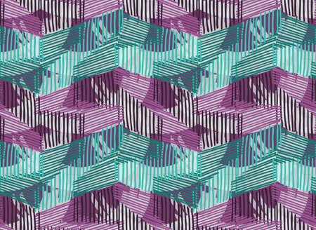 Striped blue purple with texture.Hand drawn with ink seamless background.Creative handmade repainting design for fabric or textile.Geometric pattern with triangles.Vintage retro colors Illustration