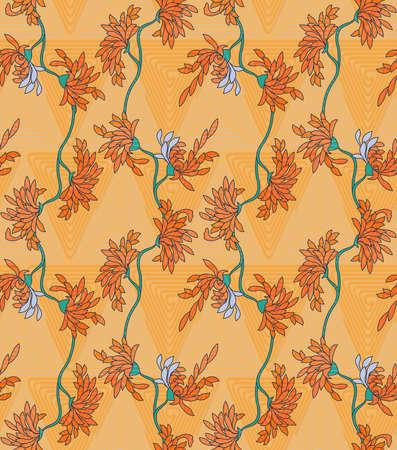 Aster flower on orange triangular geometric background.Seamless pattern.