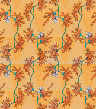 aster: Aster flower on orange triangular geometric background.Seamless pattern.