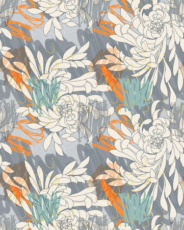 Aster flower gray on hand scribbled background.Seamless pattern. Ilustracja
