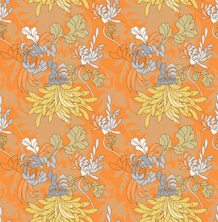 Aster flower with concentric circles orange.Seamless pattern.