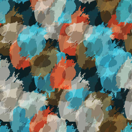 tiling: Grungy stains blue and orange.Hand drawn with ink and marker brush seamless background.
