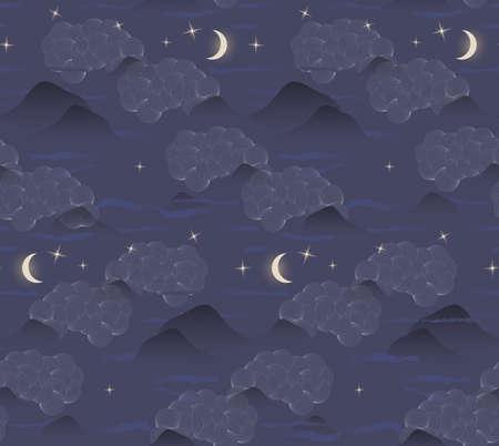 雲山は月星です。シームレス パターン。