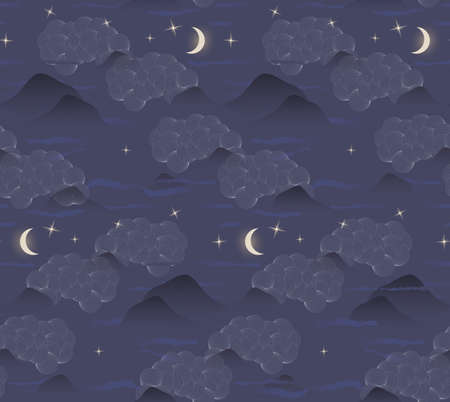 Clouds mountains moon stars.Seamless pattern.