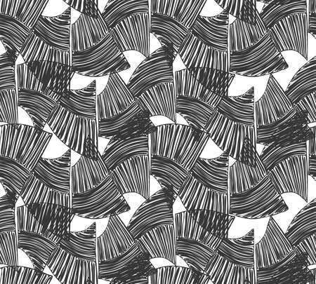 Wavy trapezoids black on white.Hand drawn with ink seamless background.Rough texture created with hatched geometrical shapes.