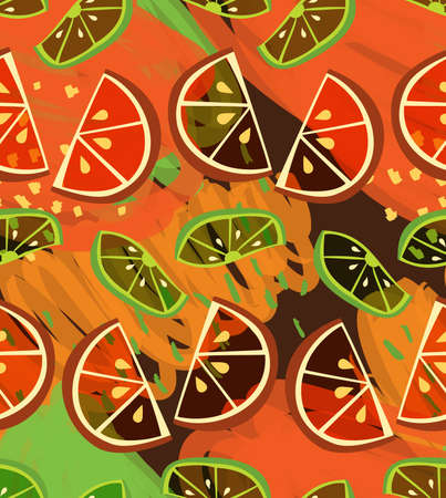 Textured orange and lime slices on scribbled orange.Collage seamless background. Illustration