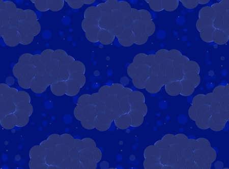 雲とシームレスなパターンをベクトルします。夜のシームレスな背景を抽象化します。真っ青な空でパターンを描画