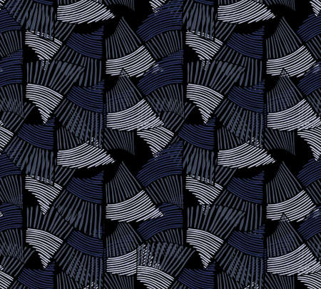 Wavy trapezoids striped blue.Hand drawn with ink seamless background.Rough texture created with hatched geometrical shapes.