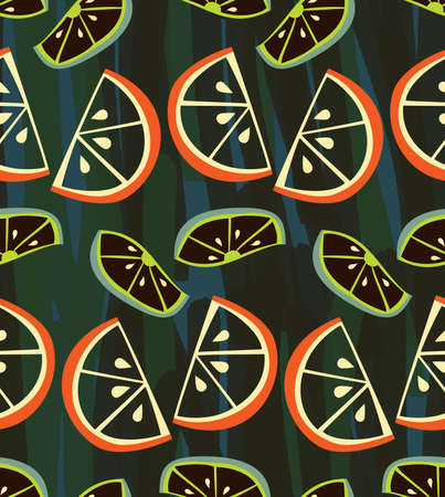 Textured orange and lime slices on deep green.Collage seamless background. Illustration