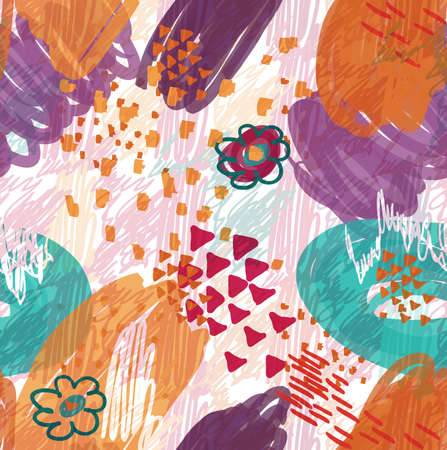Abstract scribbles purple with flower and triangles.Hand drawn with ink and marker brush seamless background.Ethnic design.