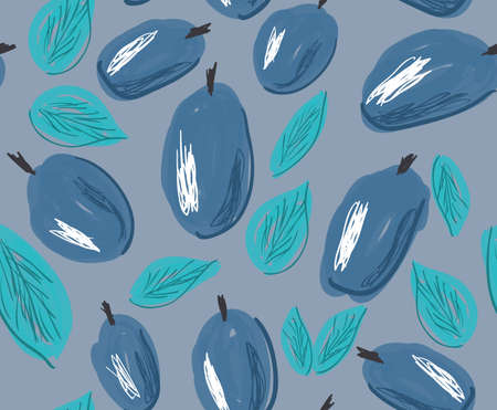 Sketched plums with leaves on gray.Hand drawn with ink and marker brush seamless background.Ethnic design.
