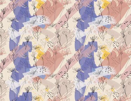 ほぼ茶色スケッチのタンポポの花紫。創造的な抽象的なカラフルなシームレス パターン。部族の民族的動機。グリーティング カード、招待状の普遍