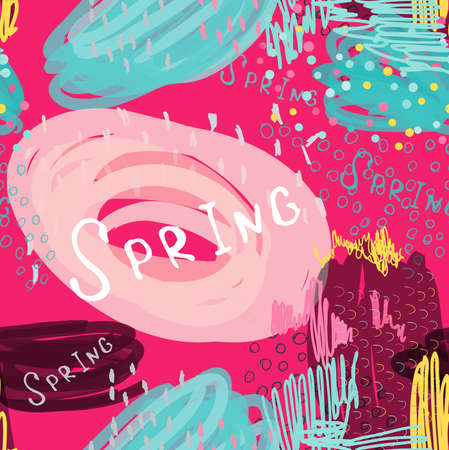 Abstract scribbles bright pink spring.Hand drawn with ink and marker brush seamless background.Ethnic design.