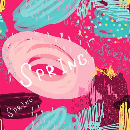 추상 낙서 밝은 핑크 봄. 손으로 그린 잉크와 마커 브러시 완벽 한 배경입니다. 민족 디자인입니다.