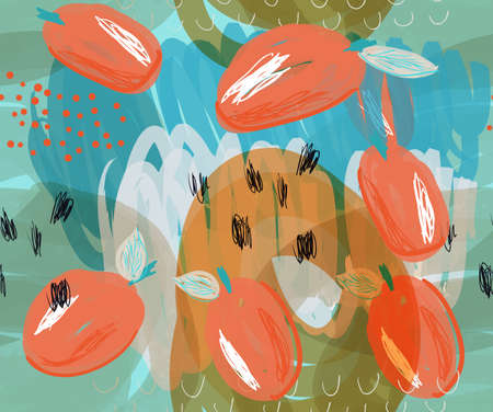 Scribbled orange plums on marker blue details.Creative abstract colorful seamless pattern. Tribal ethnic motives. Universal bright background for greeting cards, invitations. Had drawn ink and marker texture.