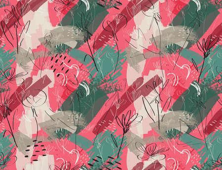 大体スケッチ タンポポの花ピンク グリーン。創造的な抽象的なカラフルなシームレス パターン。部族の民族的動機。グリーティング カード、招待