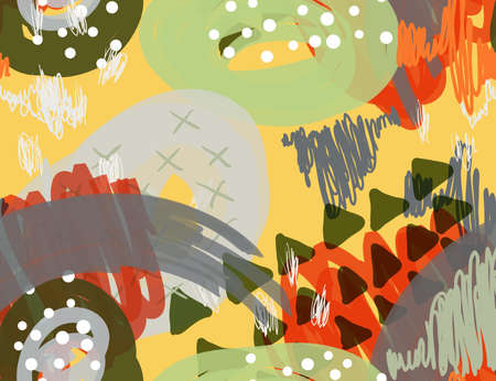 抽象マーカー落書きドットと黄色の三角形。創造的な抽象的なカラフルなシームレス パターン。部族の民族的動機。グリーティング カード、招待状