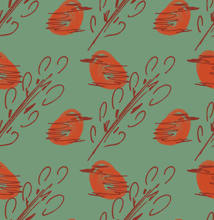 Rough sketched orange birds and tree branches.Hand drawn with ink and marker brush seamless background.Ethnic design.