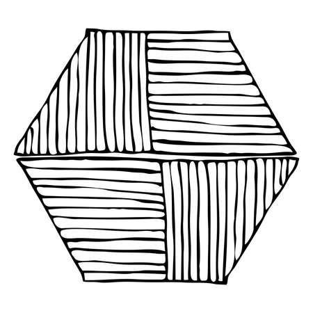 Hatched hexagonal shape black isolated on white Banco de Imagens - 74918465