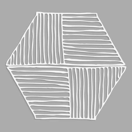 Hatched hexagonal shape 3D with realistic shadow on gray Ilustração