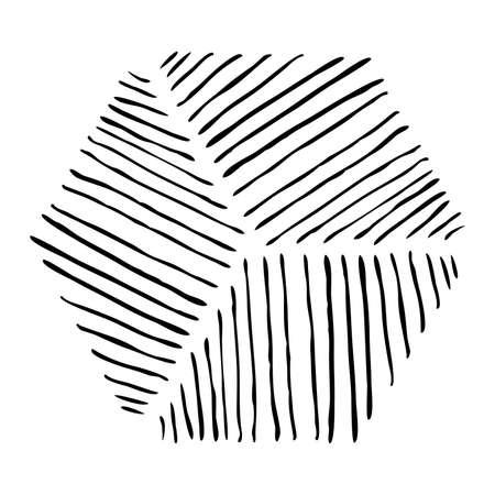 Gearceerde zeshoekige vorm geïsoleerd op wit