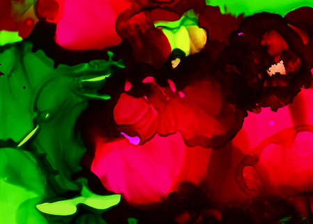 Pink paint flow with green.Colorful background hand drawn with bright inks and watercolor paints. Color splashes and splatters create uneven artistic modern design.