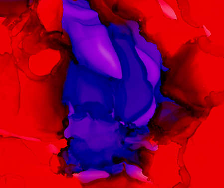 Purple red uneven color merging.Colorful background hand drawn with bright inks and watercolor paints. Color splashes and splatters create uneven artistic modern design.