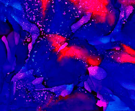 Blue and pink paint uneven merging with texture.Colorful background hand drawn with bright inks and watercolor paints. Color splashes and splatters create uneven artistic modern design.
