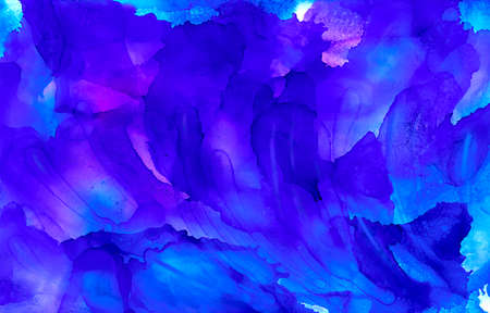 Bright blue mixed with some purple.Colorful background hand drawn with bright inks and watercolor paints. Color splashes and splatters create uneven artistic modern design.