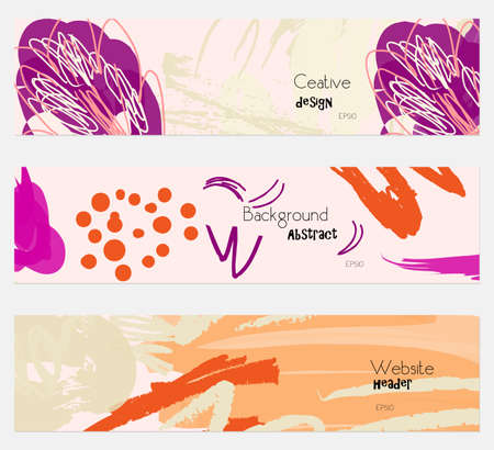hand brushed: Roughly drawn floral elements light orange cream banner set.Hand drawn textures creative abstract design. Website header social media advertisement sale brochure templates. Isolated on layer