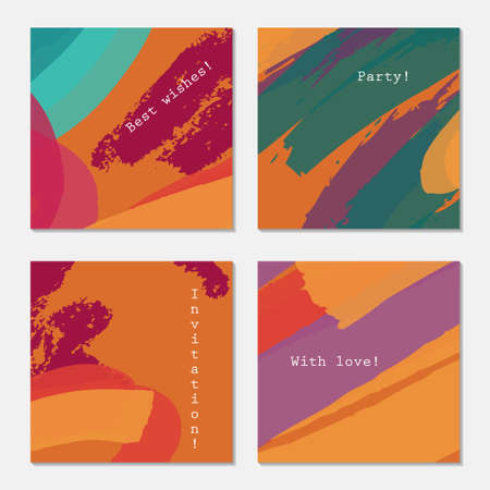 Rough textured crayon strokes orange green purple.Hand drawn creative invitation greeting cards. Poster, placard, flayer, design templates. Anniversary, Birthday, wedding, party cards set of 4. Isolated on layer. Stock Vector - 75005389