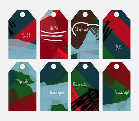 hand brushed: Abstract rough grunge strokes green red blue tag set.Creative universal gift tags.Hand drawn textures.Ethic tribal design.Ready to print sale labels Isolated on layer.