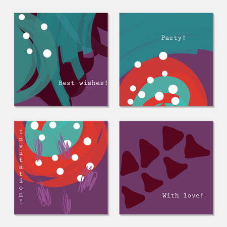 White dots and triangles on purple.Hand drawn creative invitation greeting cards. Poster, placard, flayer, design templates. Anniversary, Birthday, wedding, party cards set of 4. Isolated on layer. Stock Vector - 75005418