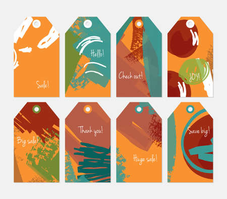 hand brushed: Abstract rough grunge strokes orange green brown tag set.Creative universal gift tags.Hand drawn textures.Ethic tribal design.Ready to print sale labels Isolated on layer. Illustration