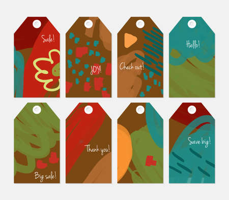 hand brushed: Marker brush doodles strokes scribbles red brown tag set.Creative universal gift tags.Hand drawn textures.Ethic tribal design.Ready to print sale labels Isolated on layer.
