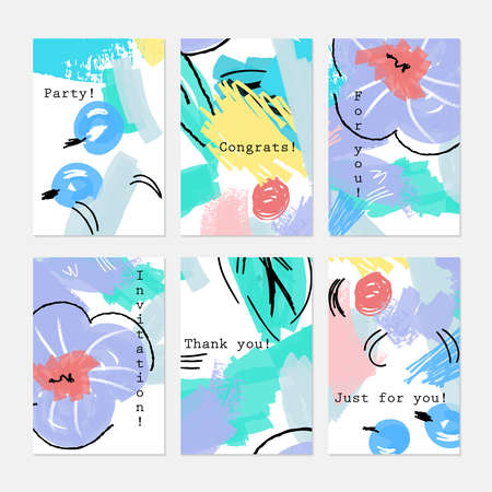 hand brushed: Abstract drawn berries blue and purple flower.Hand drawn creative invitation greeting cards.Poster placard flayer design templates. Anniversary Birthday wedding party cards.Isolated on layer.