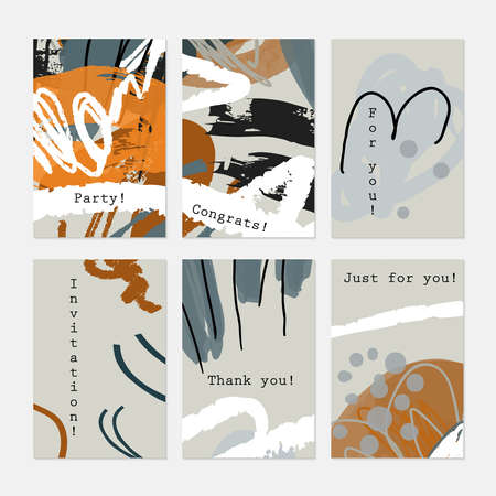 hand brushed: Rough textured strokes floral sketch light gray and orange.Hand drawn creative invitation greeting cards. Poster, placard, flayer, design templates. Anniversary, Birthday, wedding, party cards set of 6. Isolated on layer.